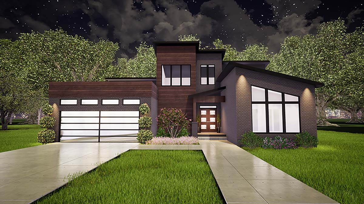 Contemporary, Modern House Plan 82420 with 3 Beds, 2 Baths, 2 Car Garage Picture 1