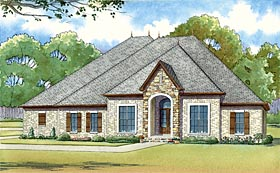 European House Plan 82421 with 4 Beds, 4 Baths, 3 Car Garage Elevation