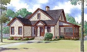 Country Farmhouse Southern Traditional House Plan 82424 Elevation