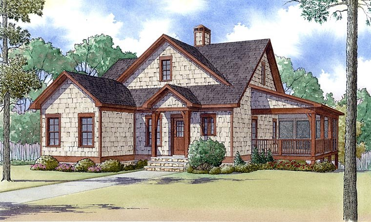 Country, Farmhouse, Southern, Traditional House Plan 82424 with 3 Beds, 2 Baths Elevation