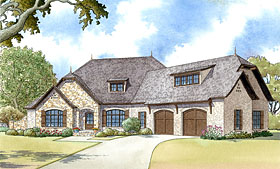 French Country , European , Country House Plan 82425 with 4 Beds, 3 Baths, 2 Car Garage Elevation