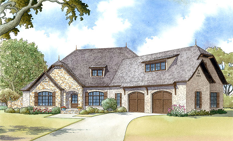 Country, European, French Country House Plan 82425 with 4 Beds, 3 Baths, 2 Car Garage Elevation