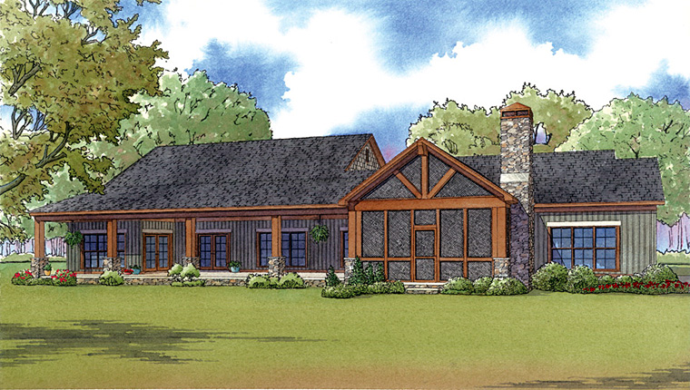 Country Ranch Southern Traditional House Plan 82426 Rear Elevation