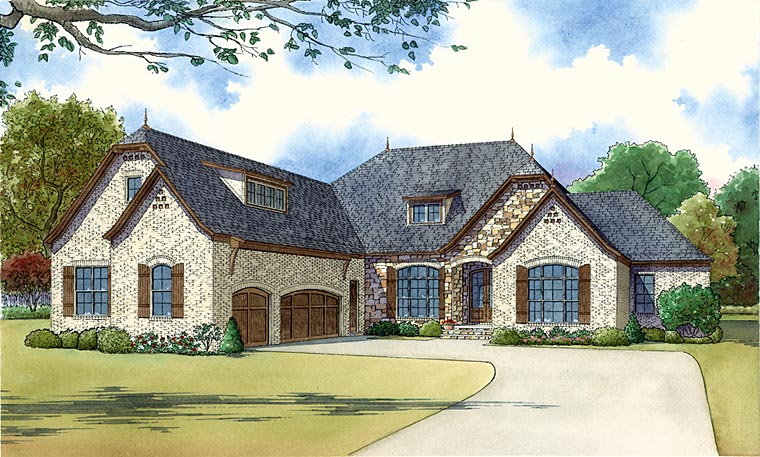 Country, European, French Country House Plan 82432 with 4 Beds, 4 Baths, 3 Car Garage Elevation