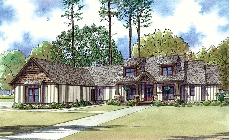 Bungalow Cottage Country Craftsman Southern House Plan 82433 Elevation