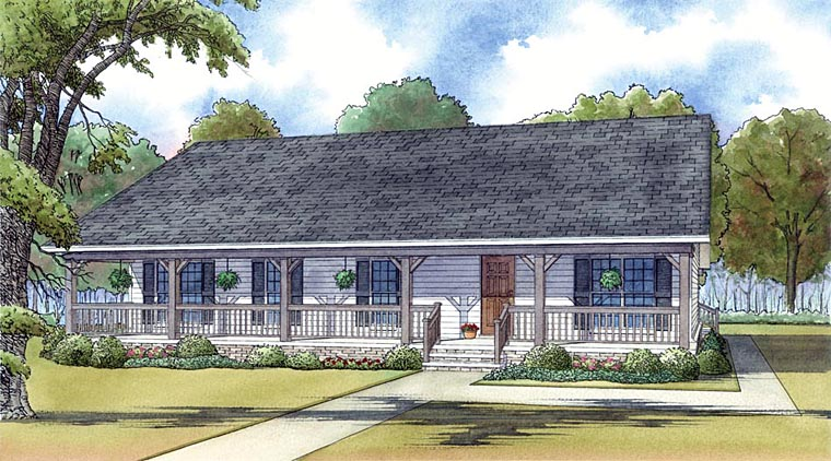Cabin Country Ranch House Plan 82434 Elevation