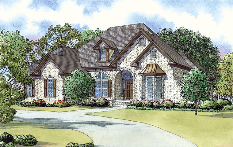 European , Southern , Traditional House Plan 82435 with 3 Beds, 3 Baths, 2 Car Garage Elevation