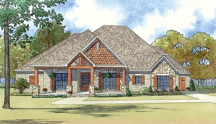 Cottage, Country, Craftsman House Plan 82437 with 4 Beds , 5 Baths , 3 Car Garage Elevation