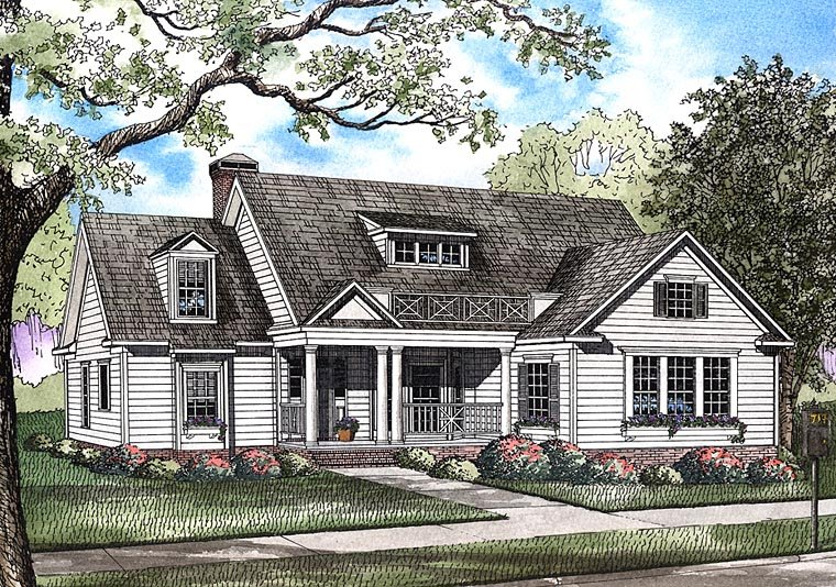 Colonial, Country, Southern House Plan 82439 with 4 Beds , 3 Baths , 2 Car Garage Elevation