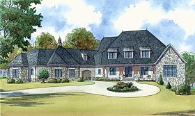 House Plan 82444 | Country European French Country Southern Style Plan with 6356 Sq Ft, 5 Bedrooms, 6 Bathrooms, 5 Car Garage Elevation