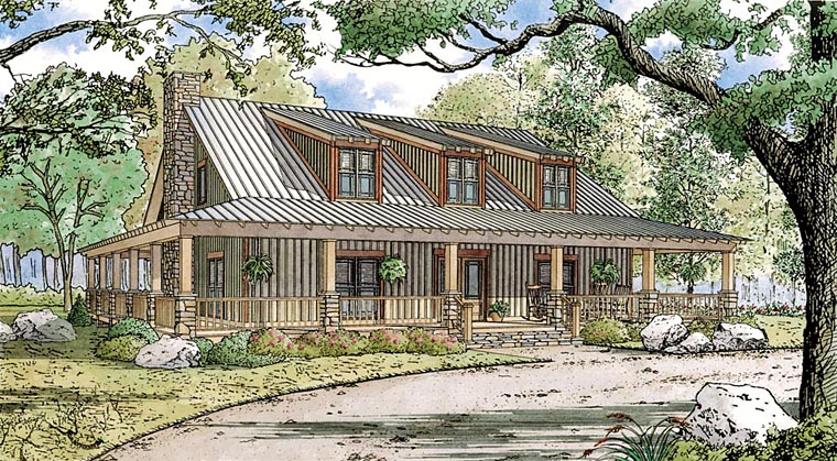 Bungalow, Cabin, Cottage, Country, Farmhouse, Southern House Plan 82448 with 4 Beds, 4 Baths, 3 Car Garage Elevation