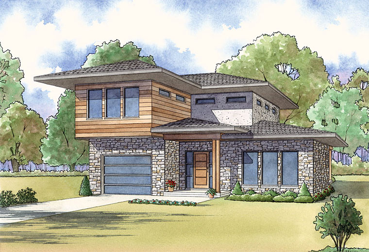 Contemporary, Modern House Plan 82450 with 3 Beds, 3 Baths, 1 Car Garage Elevation