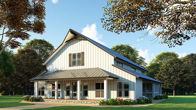 Country Farmhouse Southern Elevation of Plan 82451