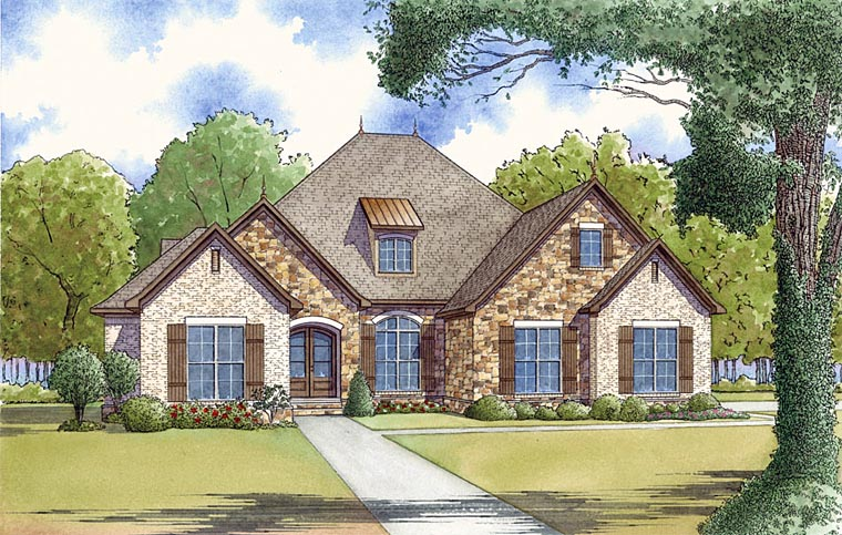 European, French Country, Traditional House Plan 82453 with 4 Beds, 3 Baths, 2 Car Garage Elevation