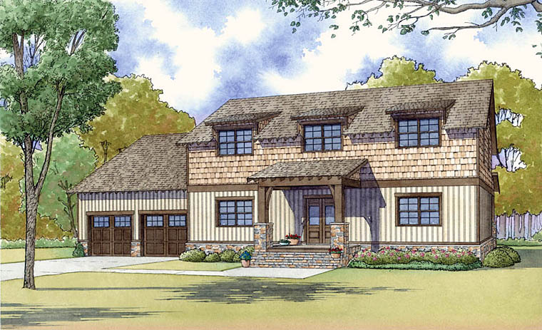 Colonial, Country, Craftsman, Modern Farmhouse House Plan 82454 with 3 Beds , 3 Baths , 2 Car Garage Elevation