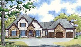Country , European , French Country House Plan 82458 with 4 Beds, 4 Baths, 3 Car Garage Elevation
