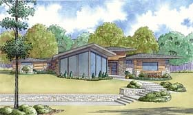 House Plan 82459 | Contemporary Prairie Style Southwest Style Plan with 3447 Sq Ft, 4 Bedrooms, 3 Bathrooms, 2 Car Garage Elevation