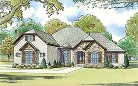 Traditional , French Country , European House Plan 82463 with 4 Beds, 4 Baths, 2 Car Garage Elevation