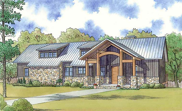 Cabin , Country , Southern , Elevation of Plan 82464