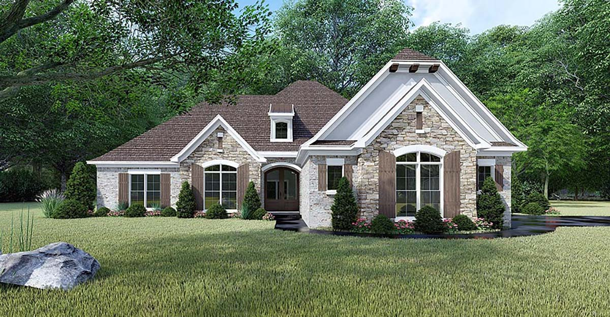 European, French Country, Traditional House Plan 82465 with 4 Beds, 3 Baths, 3 Car Garage Elevation
