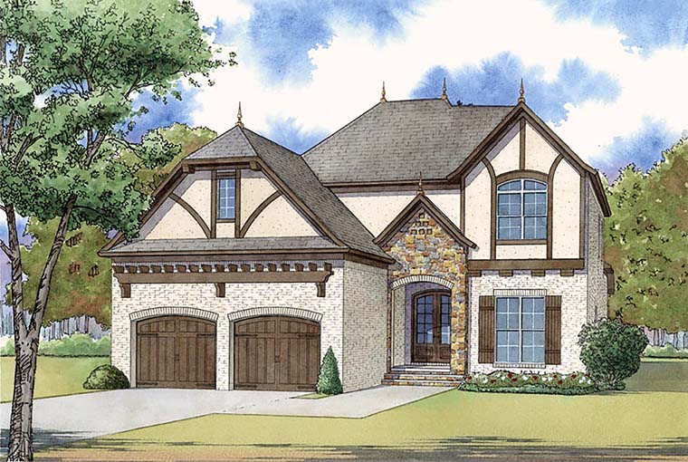 European , French Country , Traditional , Tudor House Plan 82468 with 4 Beds, 3 Baths, 2 Car Garage Elevation