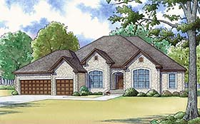 Traditional House Plan 82469 with 5 Beds, 4 Baths, 3 Car Garage Elevation
