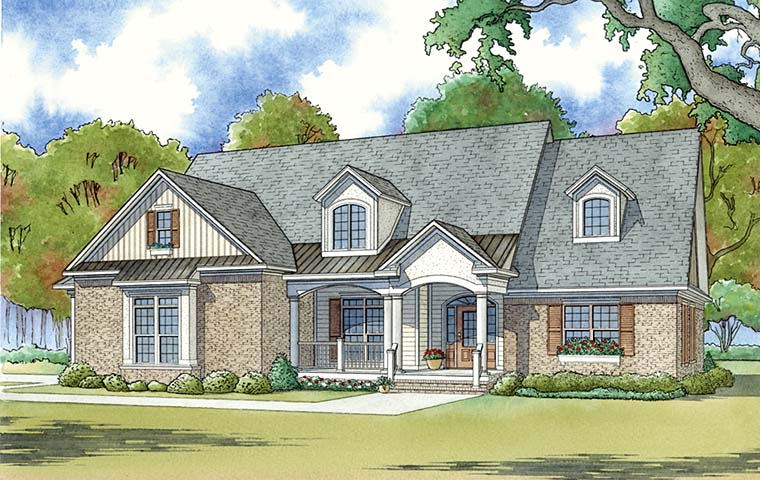 Bungalow , Country , Craftsman House Plan 82472 with 4 Beds, 3 Baths, 2 Car Garage Elevation