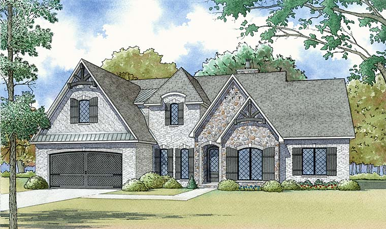 Bungalow, Craftsman, European, French Country House Plan 82475 with 4 Beds, 3 Baths, 2 Car Garage Elevation