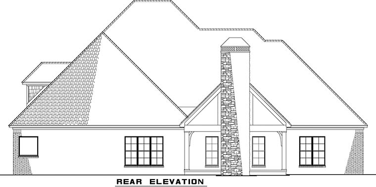 Bungalow Craftsman French Country Traditional House Plan 82477 Rear Elevation