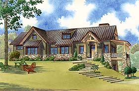 Contemporary Country Craftsman House Plan 82478 Elevation