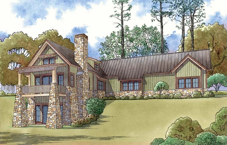 Contemporary Country Craftsman Rear Elevation of Plan 82478
