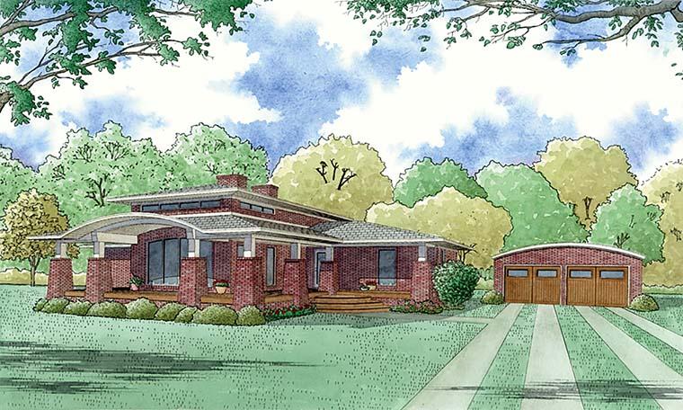 Contemporary, Mediterranean, Modern House Plan 82480 with 4 Beds, 2 Baths, 2 Car Garage Picture 1