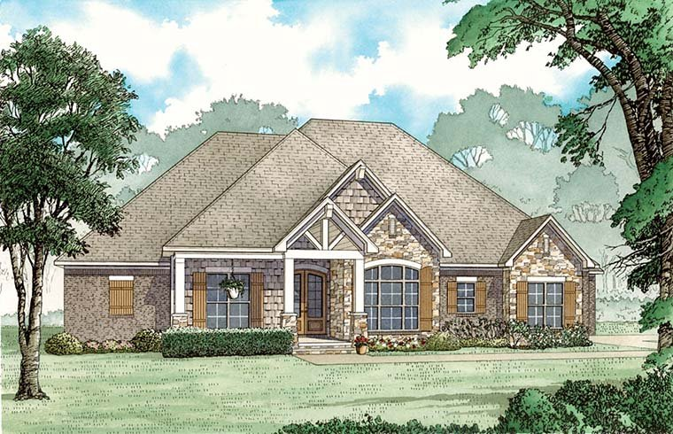 Craftsman European Southern Traditional Elevation of Plan 82483
