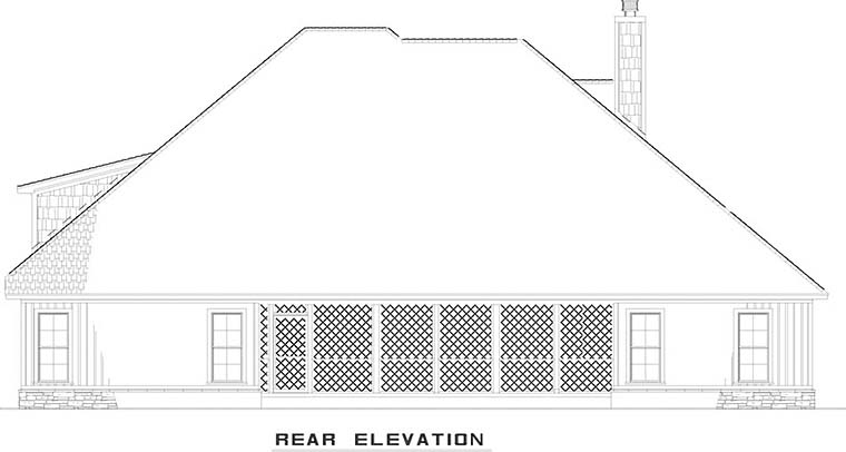 European Traditional Rear Elevation of Plan 82486