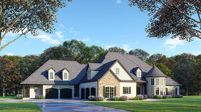 European, French Country House Plan 82488 with 6 Beds, 7 Baths, 5 Car Garage Front Elevation