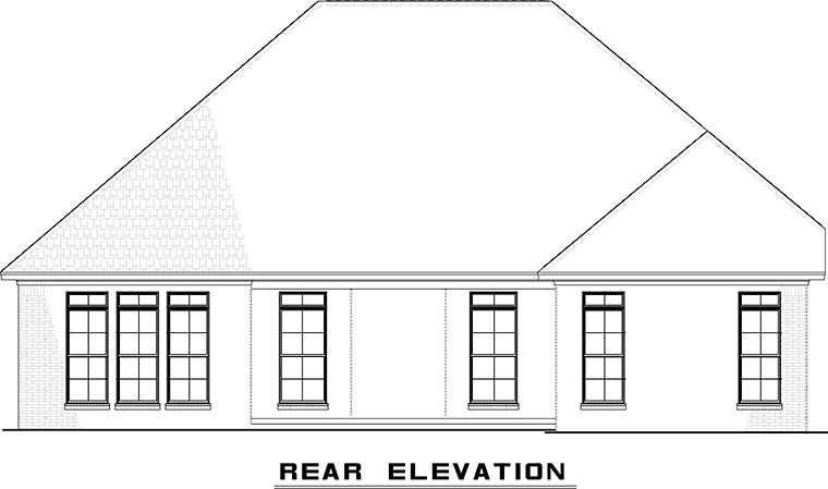 Traditional House Plan 82490 with 3 Beds, 3 Baths, 2 Car Garage Rear Elevation