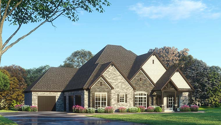 European, Traditional House Plan 82492 with 4 Beds , 6 Baths , 3 Car Garage Elevation