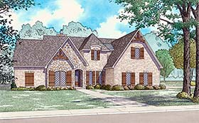 House Plan 82493 | European, French, Country Style House Plan with 2399 Sq Ft, 3 Bed, 3 Bath, 2 Car Garage Elevation
