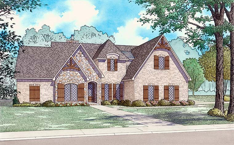 European , French Country , Elevation of Plan 82493