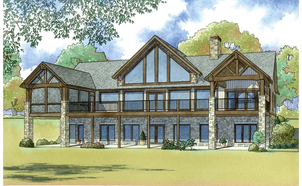Bungalow Cottage Country Craftsman Southern House Plan 82495 Rear Elevation