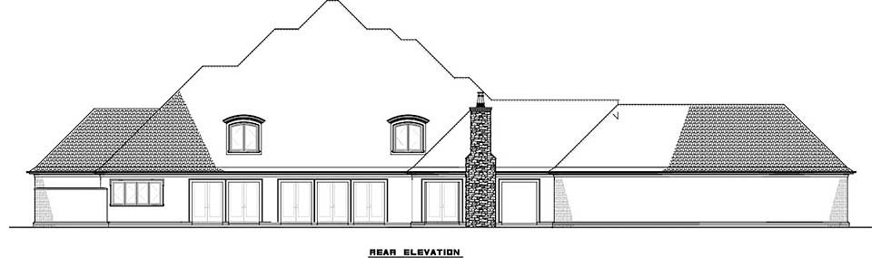 European , French Country , Rear Elevation of Plan 82498