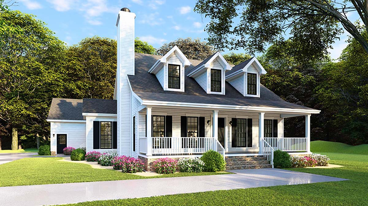 Country, Farmhouse, Southern House Plan 82500 with 4 Beds , 2 Baths , 2 Car Garage Elevation