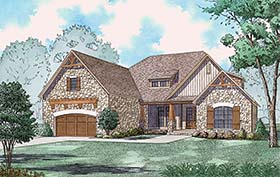 Bungalow , Craftsman , European , French Country , Southern , Traditional House Plan 82501 with 3 Beds, 4 Baths, 2 Car Garage Elevation