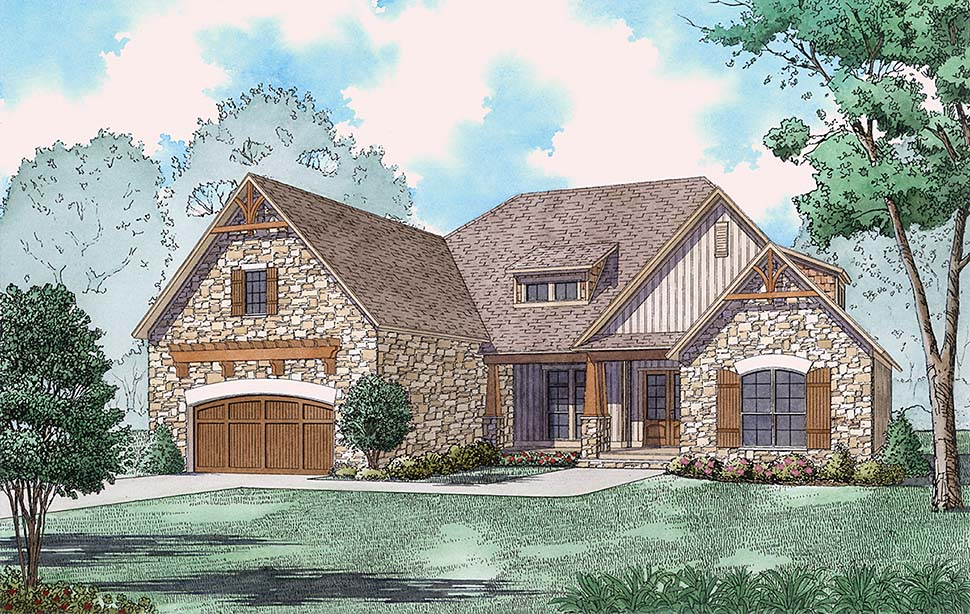 Bungalow , Craftsman , European , French Country , Southern , Traditional , Elevation of Plan 82501