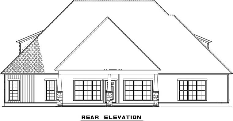 Bungalow , Craftsman , European , French Country , Southern , Traditional , Rear Elevation of Plan 82501