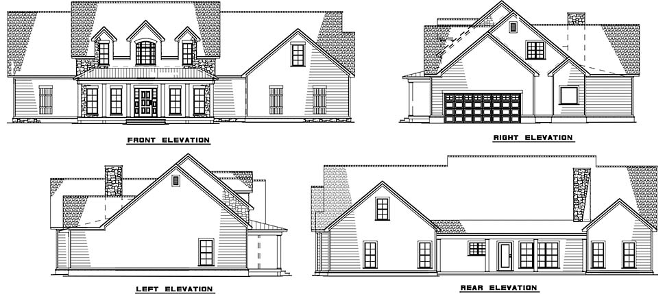 Cottage Country Southern Rear Elevation of Plan 82503