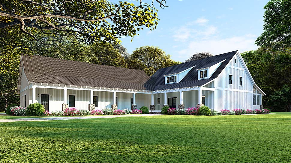 Country, Farmhouse, Southern House Plan 82504 with 5 Beds, 3 Baths, 3 Car Garage Elevation