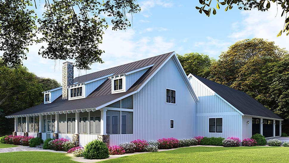Country, Farmhouse, Southern House Plan 82504 with 5 Beds, 3 Baths, 3 Car Garage Picture 2