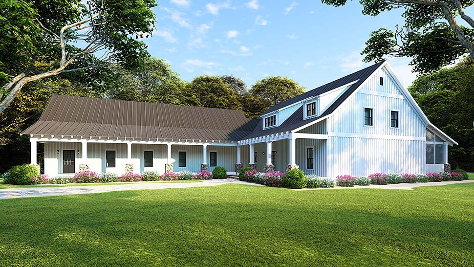 Country, Farmhouse, Southern House Plan 82504 with 5 Beds, 3 Baths, 3 Car Garage Picture 3