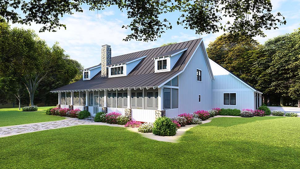 Country, Farmhouse, Southern House Plan 82504 with 5 Beds, 3 Baths, 3 Car Garage Rear Elevation